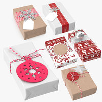 3D model christmas wrapped gift 03