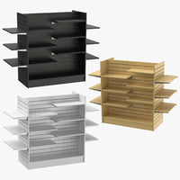 3D model slat wall gondolas shelves