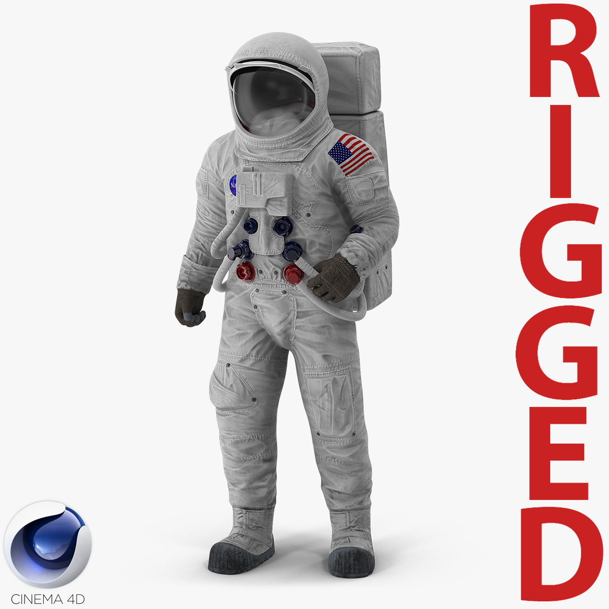 a7l spacesuit rigged 3D model