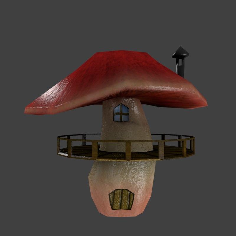 3D cartoon mushroom house model