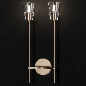 3D torche verre double sconce model