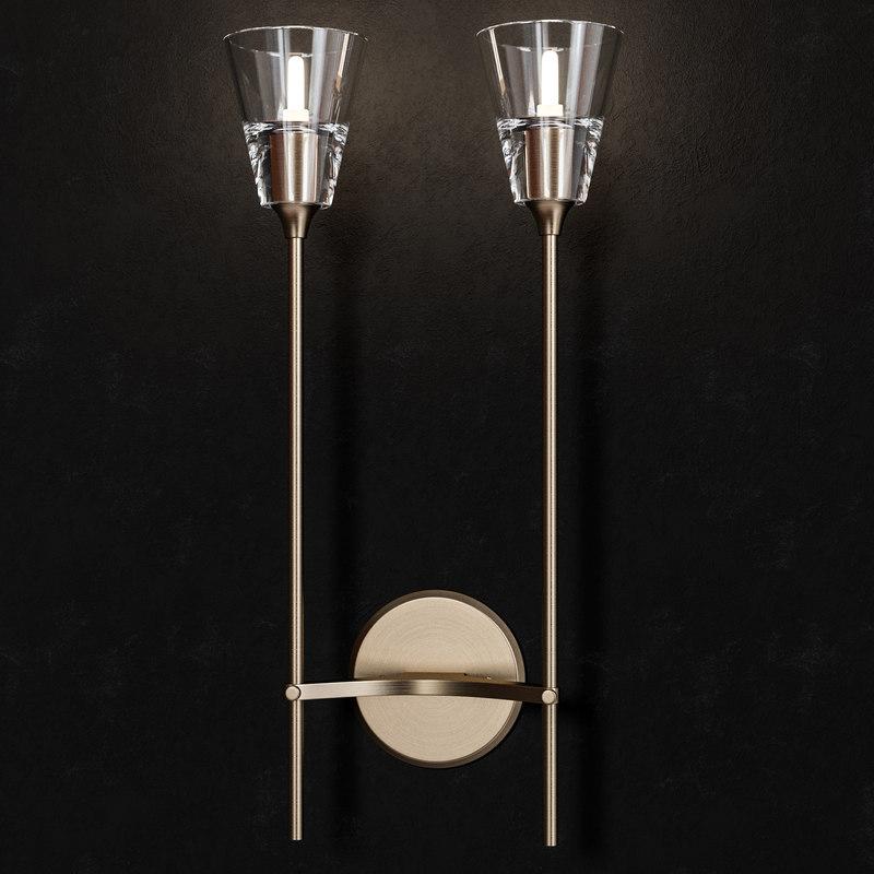 3D torche verre double sconce model