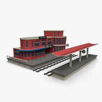 cartoony train station 3D model