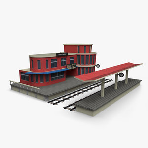 cartoony train station 3D model