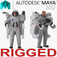 Astronaut in Spacesuit A7L with Manned Maneuvering Unit Rigged for Maya 3D Model