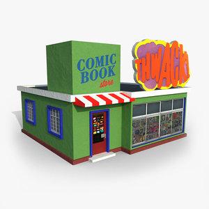 cartoony comic book store 3D