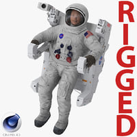 Astronaut in Spacesuit A7L with Manned Maneuvering Unit Rigged for Cinema 4D 3D Model