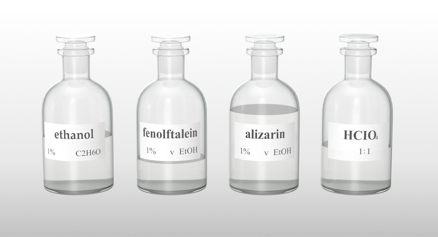 3D model realistic laboratory medical bottles