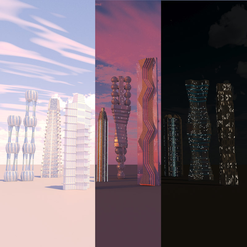 3D building hq futuristic