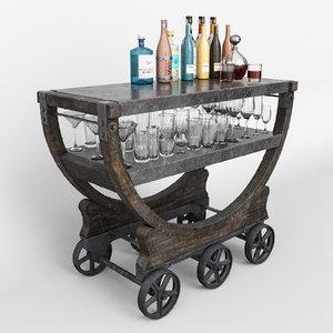 cart wallpaper factory bar 3D model