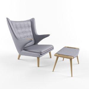 chair pp hans wegner 3D model