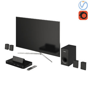 samsung qled tv home 3D model