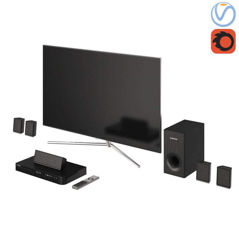 samsung qled tv home 3D model
