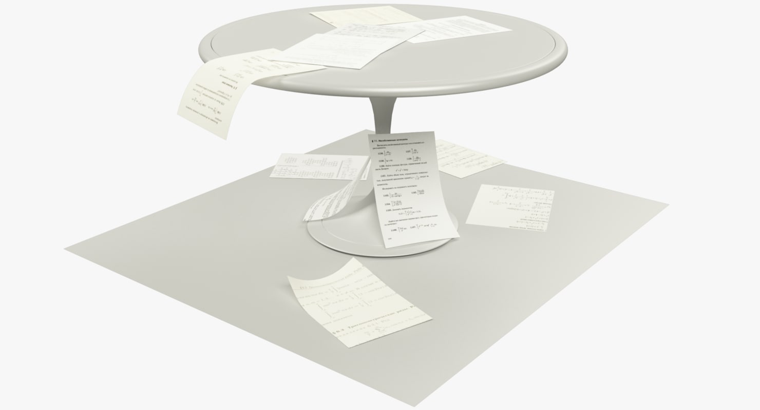 paper drafts table 3D model