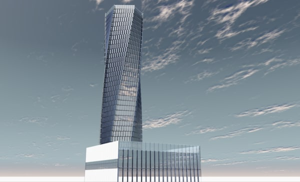 3D modern twisted tower