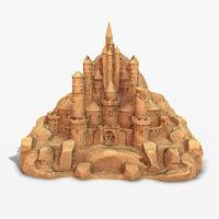 3D sand castle pbr model