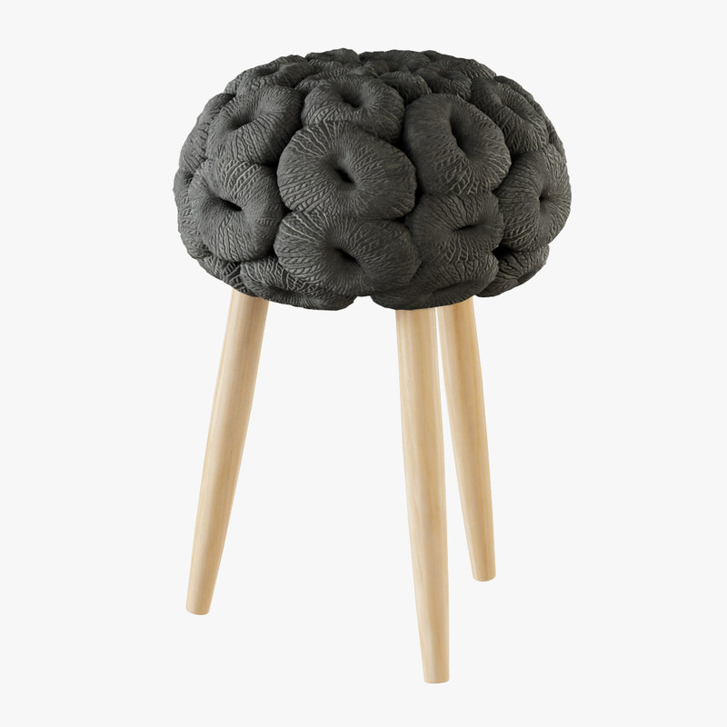 3D model knitted stool grey