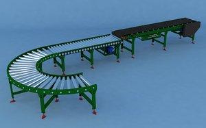 belt roller conveyor 3D model