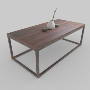 3D model rustic coffee table
