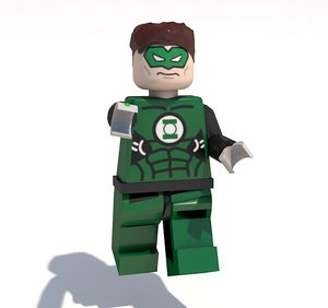 3D model rigged green lantern lego