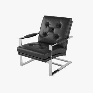 3D model milo baughman t-back lounge chair