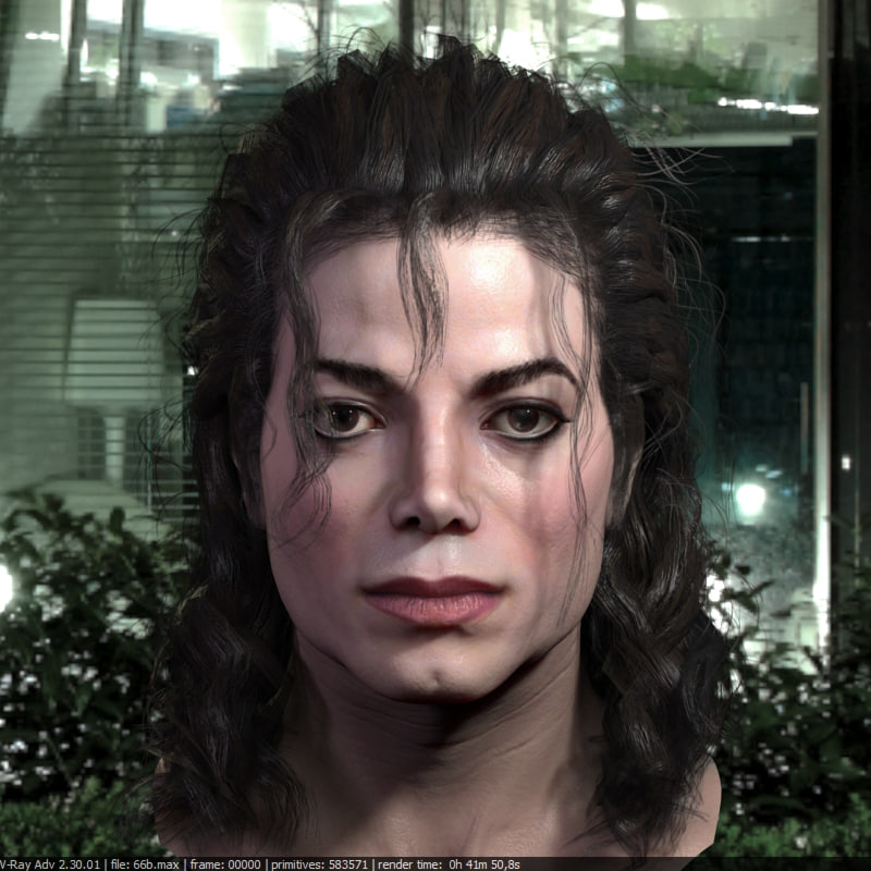 michael jackson head male 3D model
