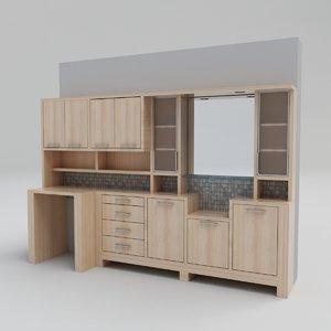 shelf drawer mirror 3D model