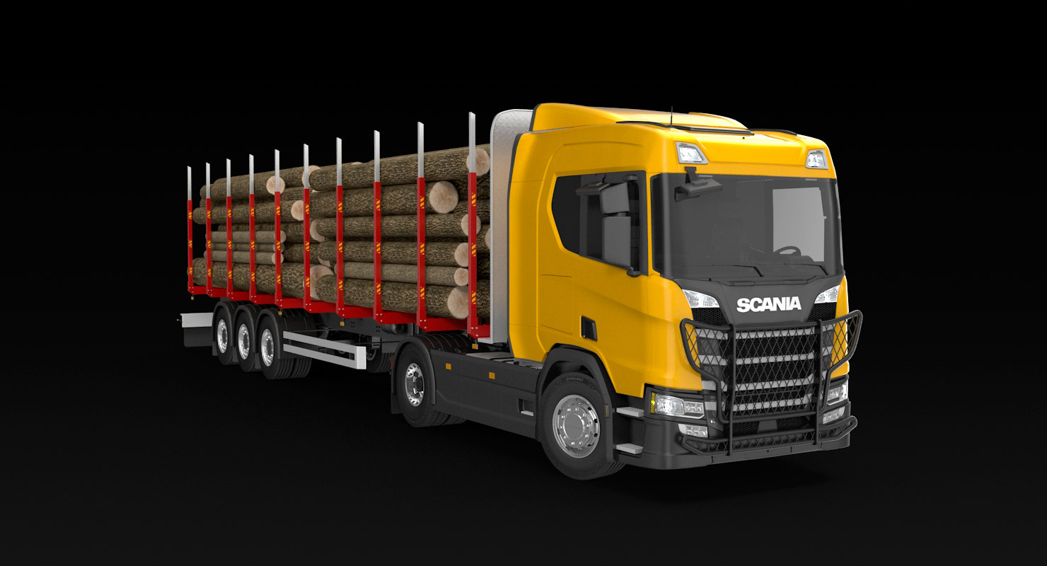 3D scania r timber truck