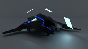 stealth sci-fi dropships light 3D model
