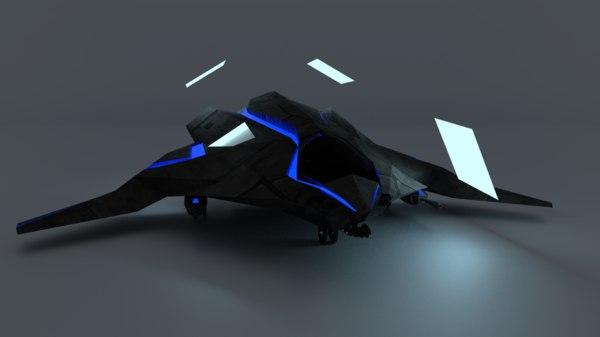 stealth sci-fi dropships light 3D model
