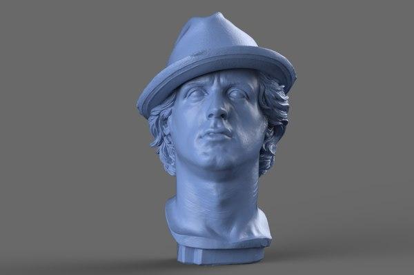 3D rocky balboa bust model