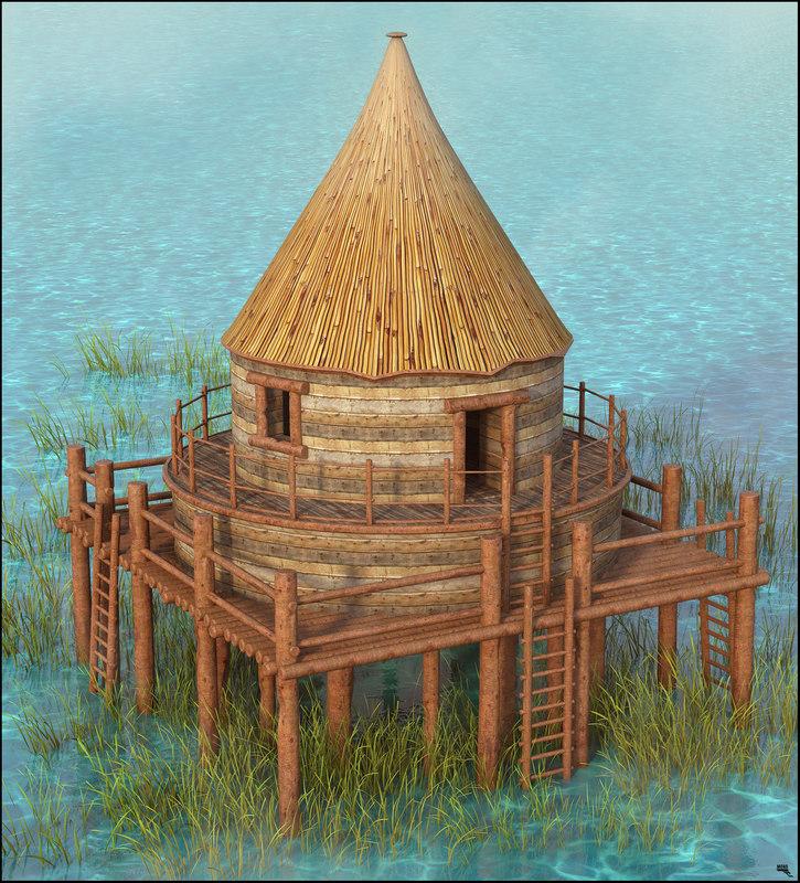 3D hut jungle model