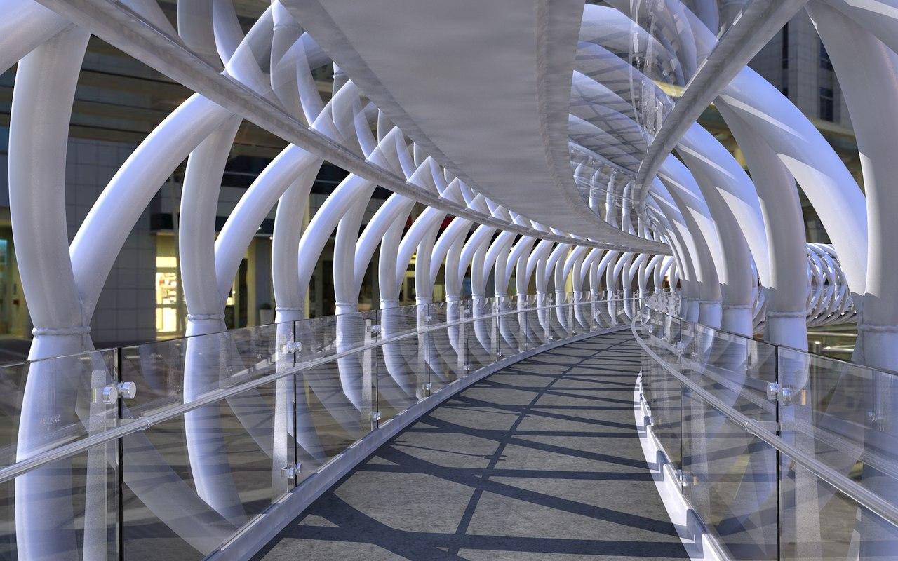 modern pedestrian bridge 3D model