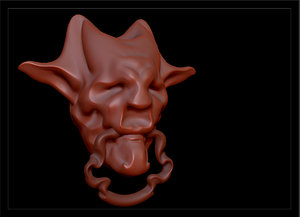 3D face door knocker model