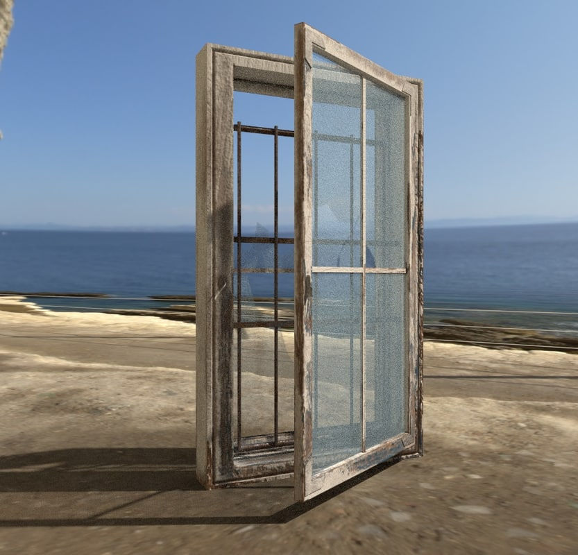 3D model abandoned window