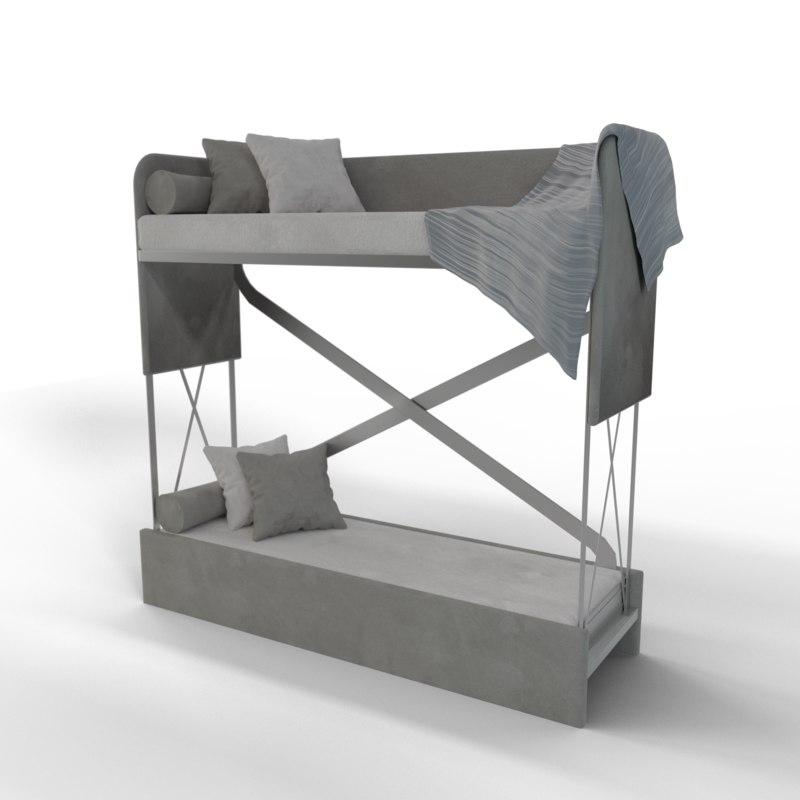 Bed Bunk Couch 3d Turbosquid 1244361