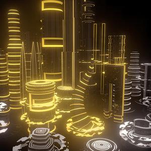 3D scifi city scene