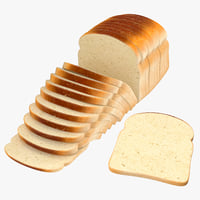 3D model sliced bread toast loose