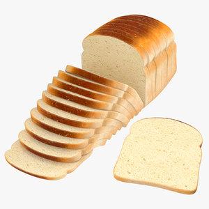 3D model sliced bread toast loose