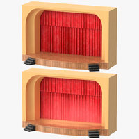 3D theater stages lit unlit model