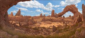 3D landscape rock cave model
