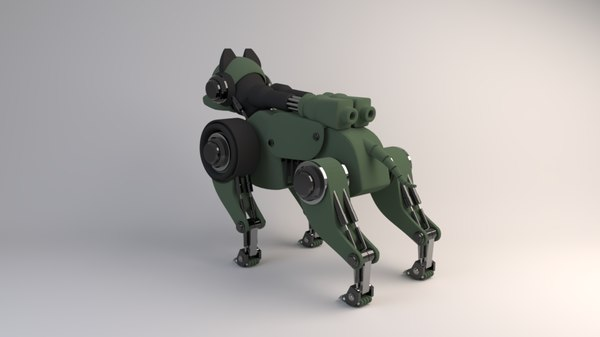 isometric sci-fi robot dog 3D model