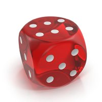 3D dice red transparent model