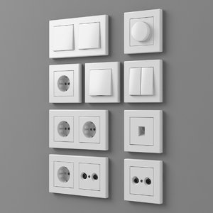 european outlets switches 3D model