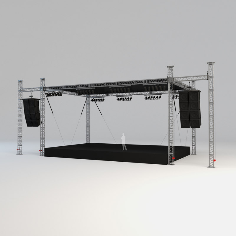 square truss stage scene 3D model