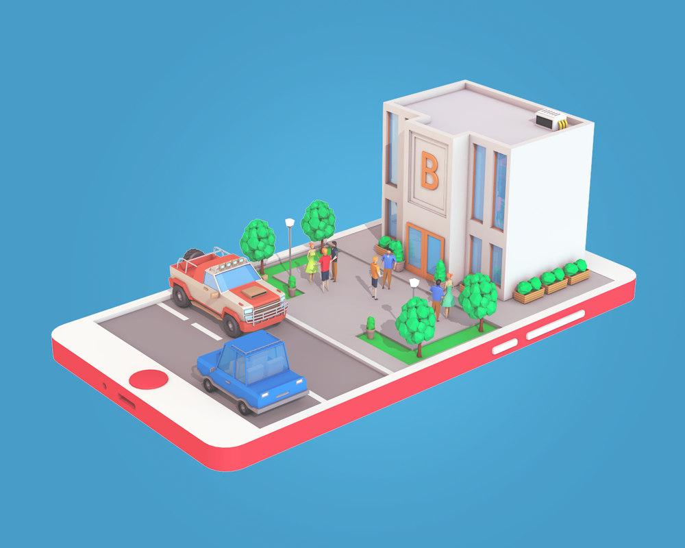 bank building phone screen 3D model