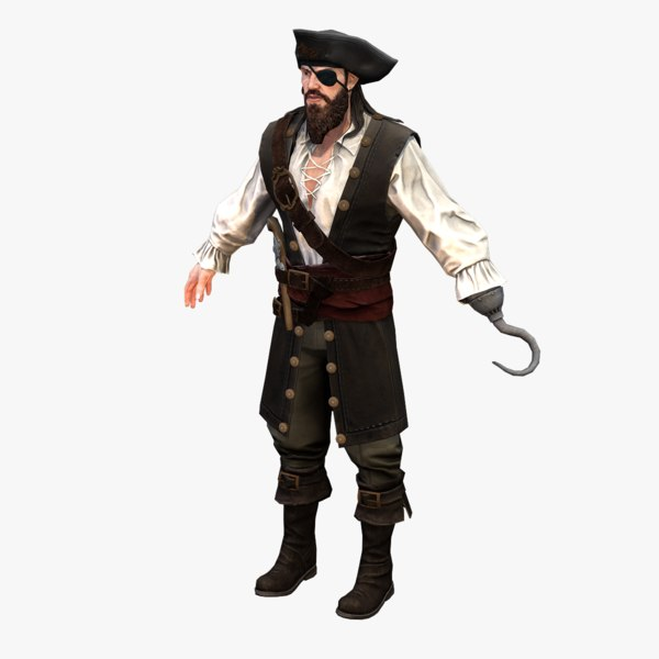 3D real-time rigged pirate 01