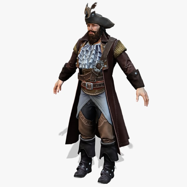 real-time rigged pirate 04 3D model