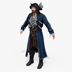 real-time rigged blue captain 3D model