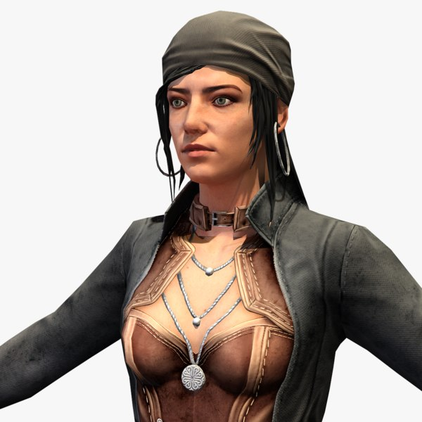 3D real-time rigged pirate female model